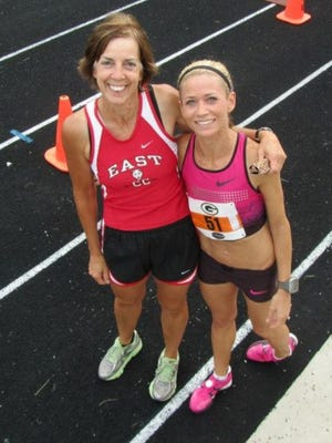 Dawn Grunnagle, right, was one of many successful athletes coached by Terri Gilles, left, at East. Grunnagle went on to compete at Texas Tech and the University of Houston and is now a professional runner.
