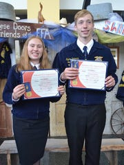 Waupun FFA members Emily Schwanke, left, and Dylon Pokorny earned their State FFA Degree at the Wisconsin FFA Convention in Madison recently.