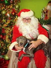 The dog Justice recently visited with Santa