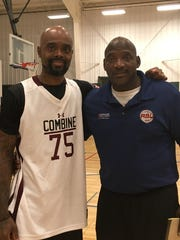 Former Rickards player Dominique Farmer, left, with