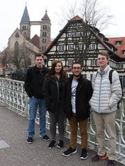 Four Sheboygan County students who are currently studying in Esslingen, Germany.  The students are Adam Domalgalski, Ben Barillas, Reilley Horneck, and Amber Krause.