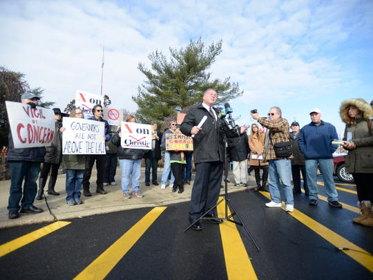 Local activist Bill Brennan announces his bid for governor in front of Wayne Municipal Hall on Dec. 5, 2016 during an anti-Christie protest rally.