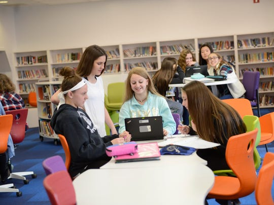 Brookside students do homework on their laptops in the Learning Commons last Thursday.