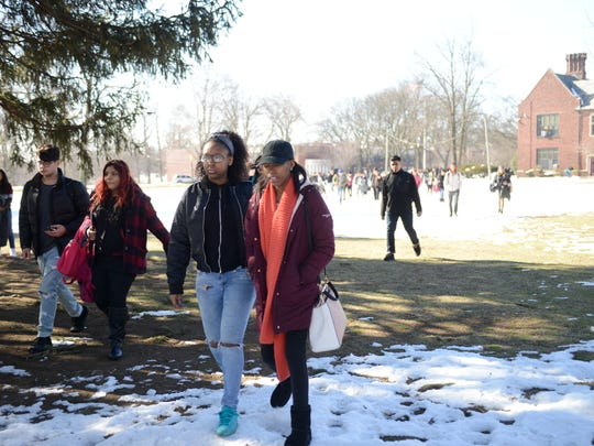 Dwight Morrow High School students walked out of the school on Friday to protest the suspensions of their principal, assistant principal and guidance counselors.