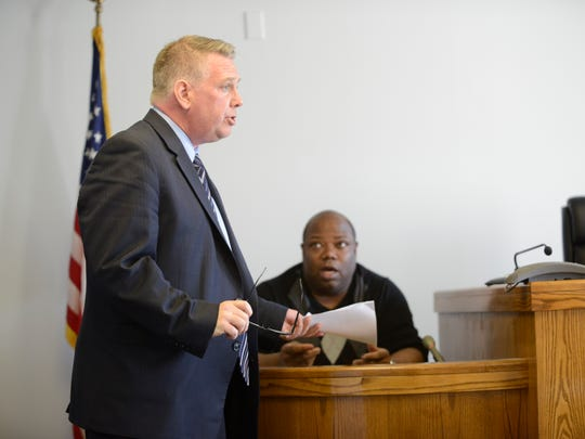 Teaneck resident Elie Jones is questioned by James Doyle in Hackensack Superior Court on Feb. 23, 2017. Jones filed numerous criminal complaints against township employees,  including Teaneck Police Officer Joseph Careccio, Lt. Thomas Tully, Andrew Gold and Issa Abbasi, whom Doyle represents.
