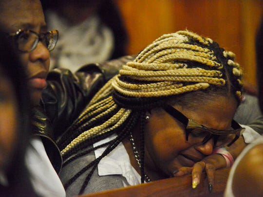 Dellwanna Miller, mother of Jaleek Burroughs, reacts to the verdict of the jury in Paterson Superior Court on Feb. 28, 2017 in the trial against Jahmed Green, Gregory Oliver and Francis Brace. Green, Oliver and Brace were charged with the 2014 murder of Burroughs and attempted murder of Alaysia Chambers.