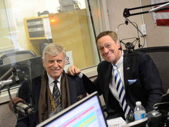 "Joe Piscopo, right, with conservative activist Dr. Herb London on his morning radio program, ""The Joe Piscopo Show."" The entertainer is considering a run for New Jersey governor."