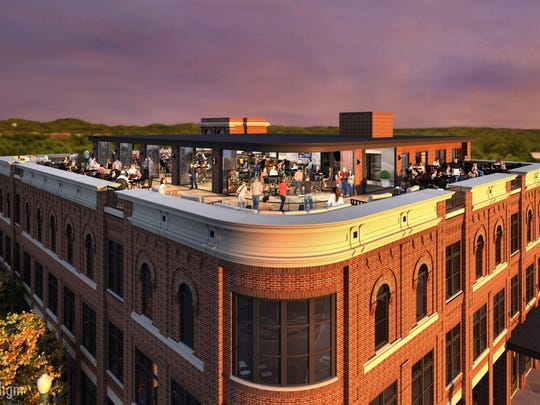 A rendering shows a rooftop restaurant planned for