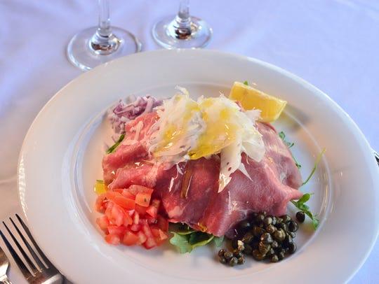 Beef carpaccio at Restaurant Delvina in Closter.