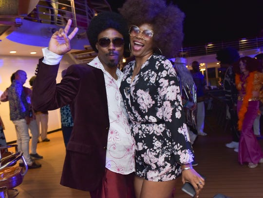 Guests have fun aboard a Soul Train Cruise. The Star Vista LIVE cruises also include Flower Power, Country Music and '70s and Romance cruises.