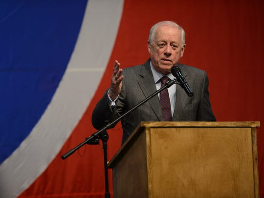 Former Governor of Tennessee Phil Bredesen speaks to the Tennessee Democratic Party Three Star Dinner at the Wilson County Expo Center in Lebanon on June 16, 2018.