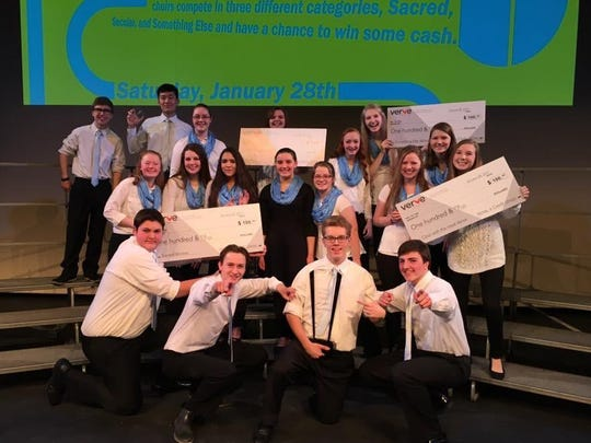 The St. Mary Catholic High School choir students rocked it at the recent Clash of the Choirs. They won the Sacred Category, Something Else and took overall first place. Pictured are, first row, from left, Addison DeShambo, Kennan DeShambo, Bryce Kalaus, Luke Franda; second row, Lydia Van Rossum, Gabriella Pope, Lacey Murphy, Waverly Miller, Katelyn Flanagan, Olivia Tomasi, Alyssa Luther, Isabel Taubel, Madison Wogernese; third row, Everly Marshall, Eddie Yang, Katie Krautkramer, Olivia Pennings and Elliott Becker.