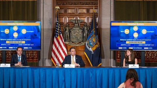 Governor Andrew M. Cuomo gave a coronavirus update during a press conference in the Red Room at the State Capitol on April 7, 2020.