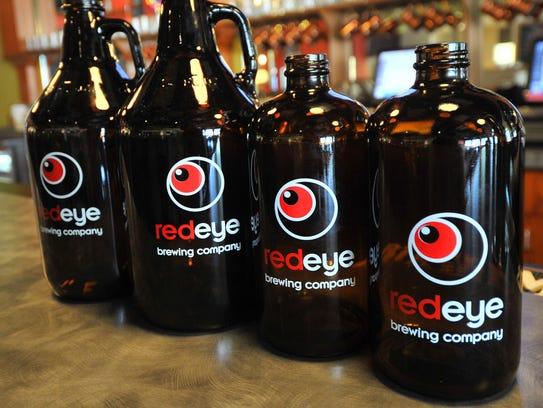 Red Eye Brewing Company beer growlers and half growlers.