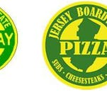 The Garden State Parkway logo (left) and the Jersey Boardwalk Pizza logo.