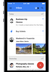 Google's new e-mail product, Inbox, on the iPhone.