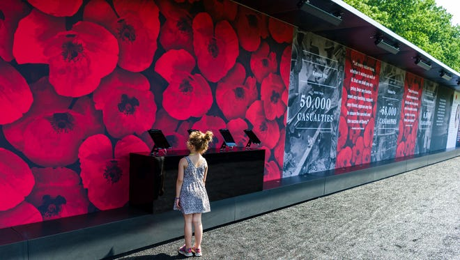 "A young girl visits ""The Poppy Memorial,"" a temporary memorial made by USAA at the National Mall consisting of more than 645,000 poppy flowers, with each flower honoring a fallen military servicemember since World War I."