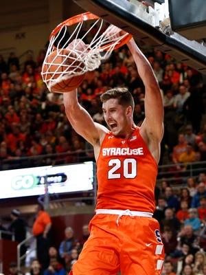 Syracuse's Tyler Lydon dunks against Boston College on Feb. 14 in Chestnut Hill, Massachusetts.