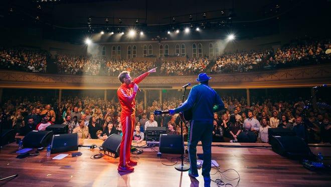 Bobby Bones and Eddie Garcia perform at Ryman Auditorium during the Million Dollar Show 3.