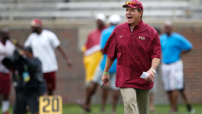 Head Coach Jimbo Fisher yells at his team during the Garnet and Gold spring game at Doak Campbell Stadium on Saturday.