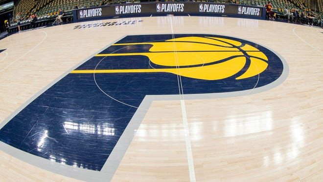 A general view of center court before game four between the Indiana Pacers and the Cleveland Cavaliers in the first round of the 2018 NBA Playoffs at Bankers Life Fieldhouse.