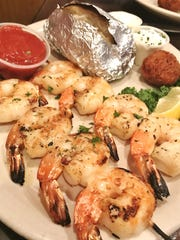 Chuck's Seafood's grilled shrimp were eight seasoned