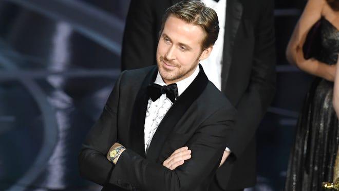 "Actor Ryan Gosling, one of the stars of ""La La Land,"" looks perplexed. 'La La Land' had mistakenly been announced as best picture winner instead of actual winner ""Moonlight."""