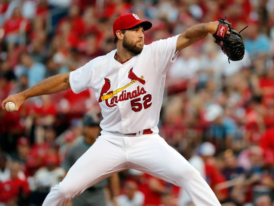 St. Louis Cardinals starting pitcher Michael Wacha throws during the first inning of a baseball game against the Arizona Diamondbacks, Friday, July 28, 2017, in St. Louis. (AP Photo/Jeff Roberson)