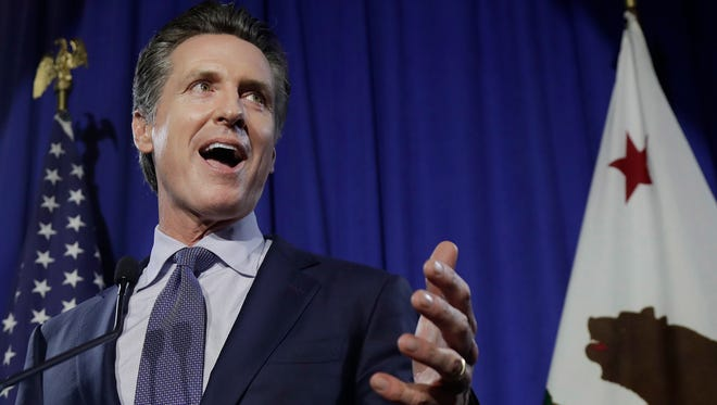 Democratic Lt. Gov. Gavin Newsom speaks at his gubernatorial campaign's primary night watch party in San Francisco on Tuesday.