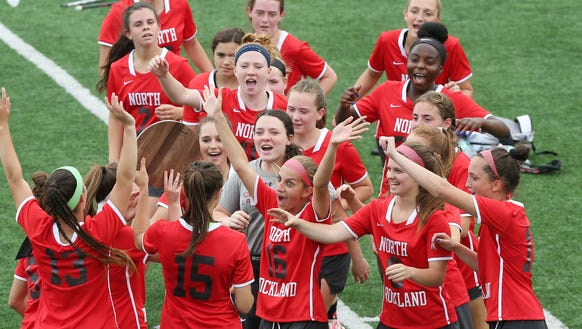 North Rockland players celebrate their 17-3 victory