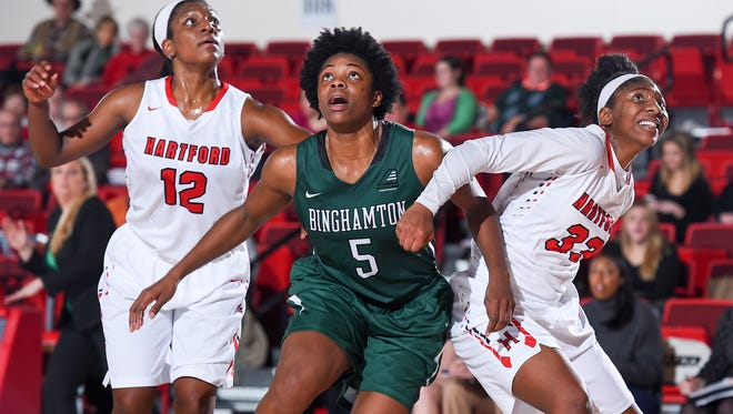 Binghamton University redshirt sophomore forward Alyssa James leads the America East Conference and ranks 15th in NCAA Division I in blocked shots per game (2.97). She also ranks among the top 10 in the conference in scoring and rebounding.