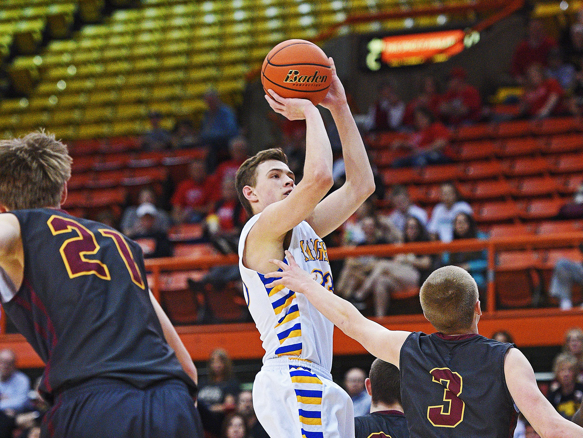 O'Gorman's Matt Cartwright (23) takes a shot during a 2017 SDHSAA Class AA State Boys Basketball quarterfinal game against Harrisburg Thursday, March 16, 2017, at Rushmore Plaza Civic Center in Rapid City.