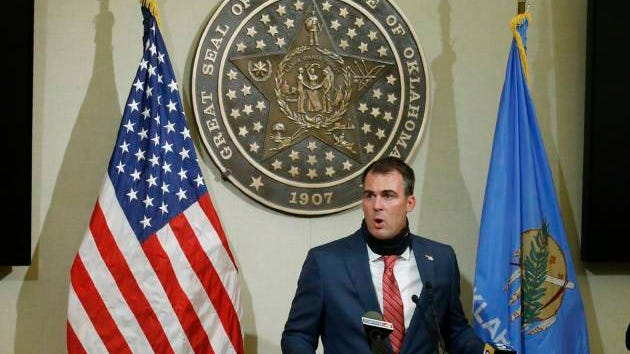 Gov. Kevin Stitt gestures as he speaks during a news conference, Tuesday, June 30, 2020, in Oklahoma City. Sue Ogrocki/AP file