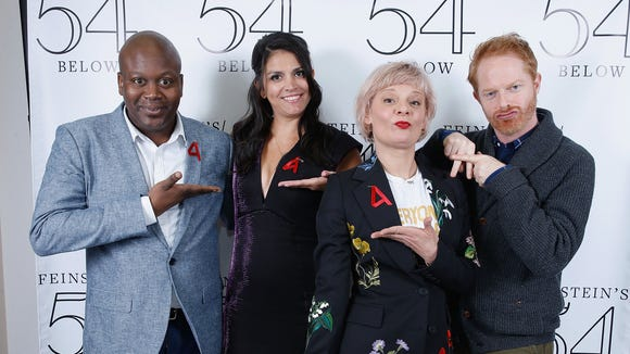 Tituss Burgess,  Cecily Strong, Martha Plimpton and Jesse Tyler Ferguson attend Broadway Acts For Women in 2016.
