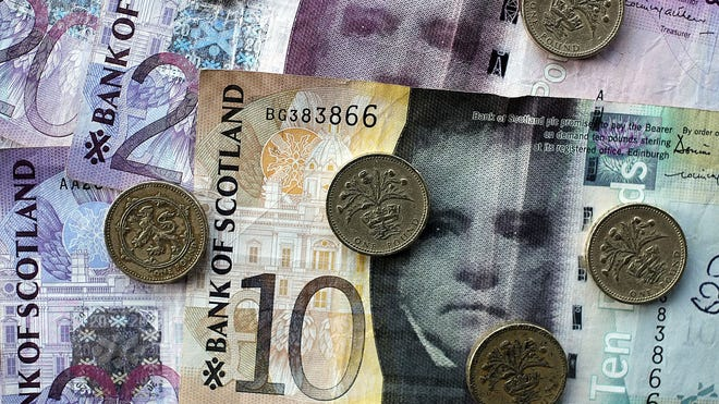 Scottish pound sterling bank notes and pound coins