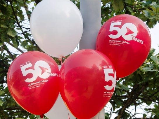 Balloons celebrating the 50-year anniversary of UC