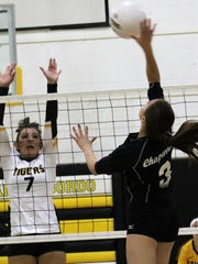 Chaparral's Itzel Aragon hits a ball toward Alamogordo's