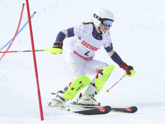 Maryna Czarina competes in the Section 1 skiing championships at Hunter Mountain in Hunter, N.Y.  Feb. 15, 2017.