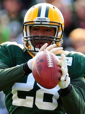 Green Bay Packers safety Sean Richardson picked off a pass from quarterback Aaron Rodgers during Monday's practice.