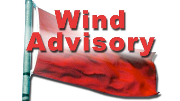 The National Weather Service in Reno issued a wind advisory for western Nevada through 4 p.m. today.