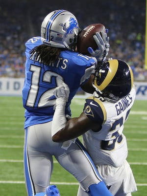 Lions receiver Andre Roberts catches a fourth-down touchdown against the Los Angeles Rams in the first half Sunday, Oct. 16, 2016 at Ford Field in Detroit.