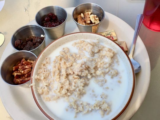 Oatmeal with raisins and walnuts at Benton Air Park