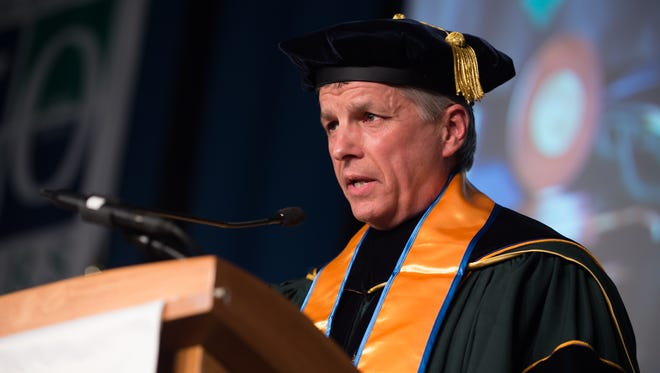 Mark Brainard, president of Delaware Technical Community College, speaks at the commencement ceremony at the Jack F. Owens campus in Georgetown, where 420 graduates took part in the ceremony.