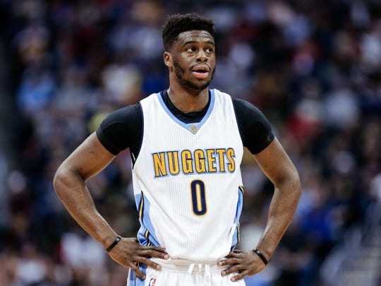 Denver Nuggets guard Emmanuel Mudiay (0) in the second quarter against the Los Angeles Clippers at the Pepsi Center.
