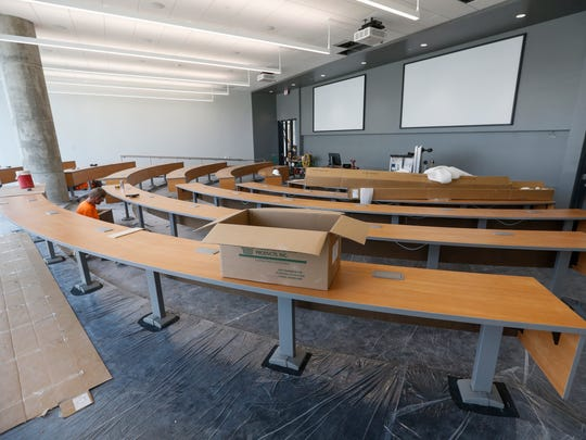 A classroom at Glass Hall that is being remodeled is seen during a tour on Monday, August 15, 2017.