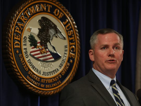 FBI Special Agent Joseph Gordon speaks at a press conference at his district office after 11 women and a man returned guilty verdicts for all four defendants in the Wilmington Trust fraud trial.
