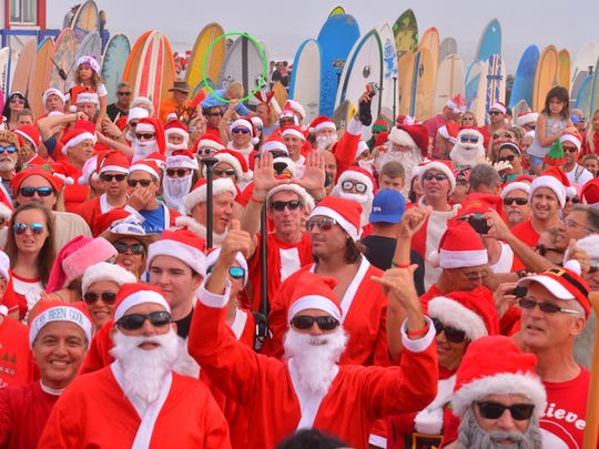 Surfing Santas as far as you could see. More than 6000