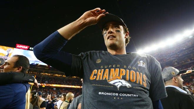 Feb 7, 2016; Santa Clara, CA, USA; Denver Broncos quarterback Brock Osweiler on the field after defeating the Carolina Panthers in Super Bowl 50 at Levi's Stadium. Mandatory Credit: Mark J. Rebilas-USA TODAY Sports