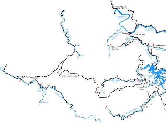 The Cheoah River in the Graham County area of Nantahala National Forest starts at the Santeetlah Dam and flows northwest for about 9.25 miles to Calderwood Lake.