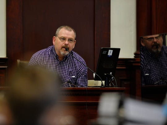 "Robert ""Buck"" Back provides testimony, Tuesday, during the trial to determine liability for the head injury his son, Robert Back, Jr., suffered in the fall of 2014 while playing as a member of the Belt High School football team."